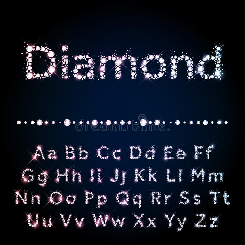 发光的金刚石字体设置了A到Z大写和小写 库存例证