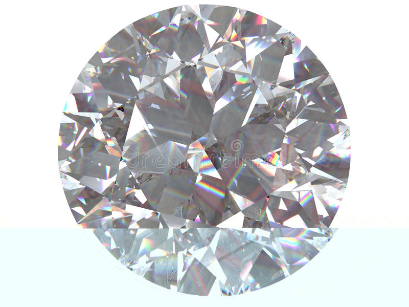 发光的金刚石的顶视图在被隔绝的白色背景中 3d翻译模型 库存图片