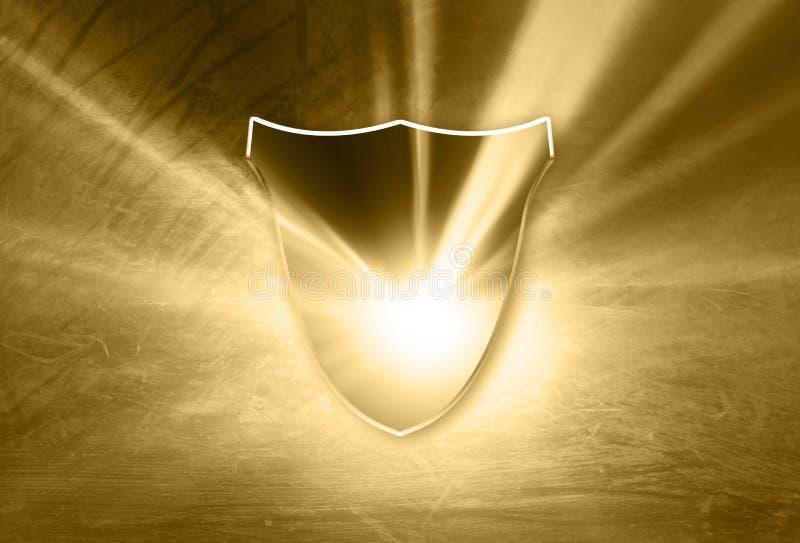 发光的金子色的玻璃作用盾背景 向量例证