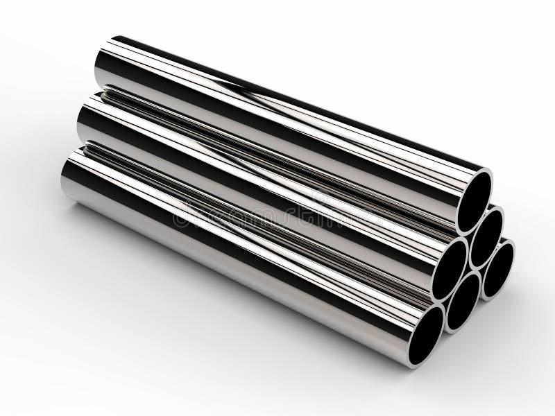 发光的金属堆在白色背景用管道输送 库存例证