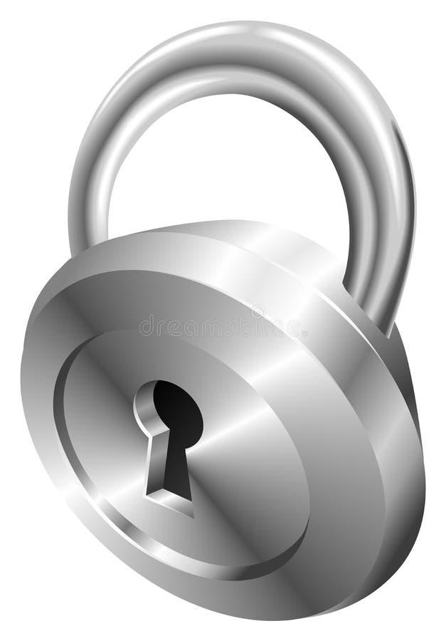 发光的金属钢挂锁象 库存例证