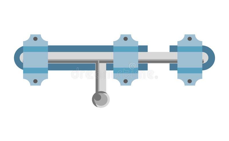 发光的金属门闩和蓝色圈隔绝了例证 向量例证