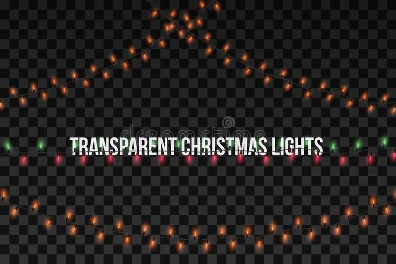 发光的金黄圣诞节诗歌选 党点燃在透明背景隔绝的装饰 也corel凹道例证向量 皇族释放例证