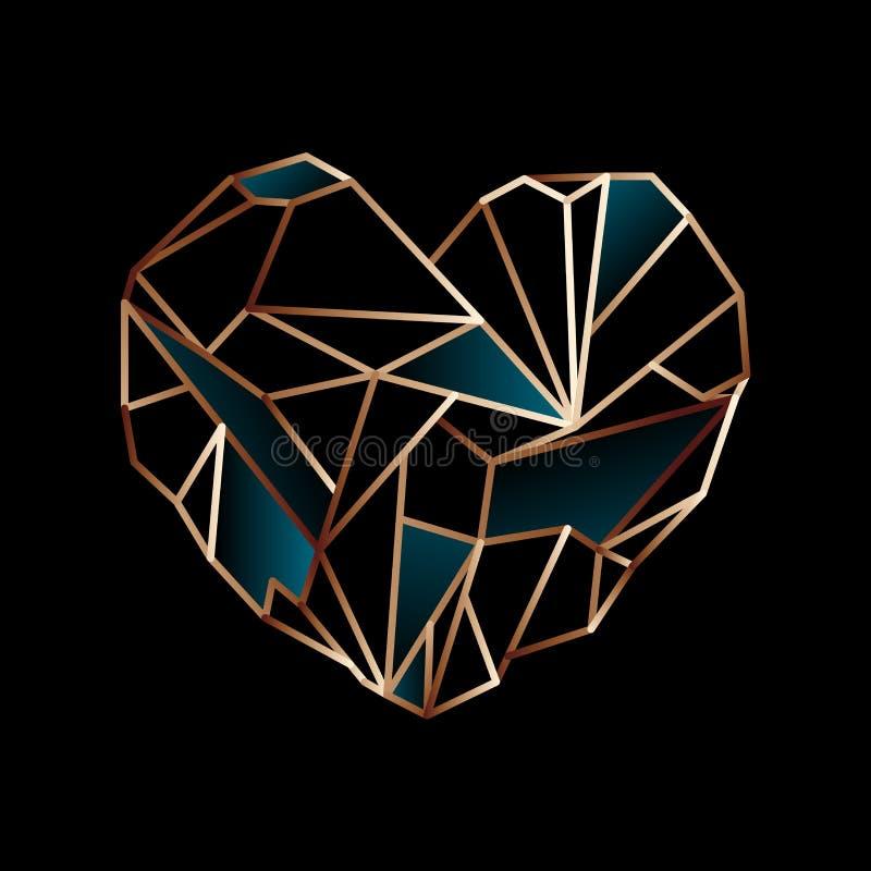 发光的金黄导线心脏 向量例证
