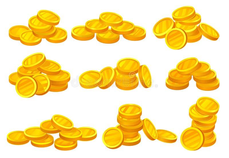 发光的金黄硬币堆  金钱或财政题材 流动比赛、电视节目预告海报或者银行业务网站的元素 平面 皇族释放例证