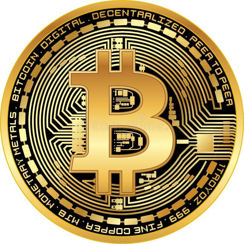 发光的金黄bitcoin 免版税图库摄影