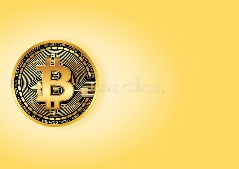 发光的金黄bitcoin 免版税库存照片