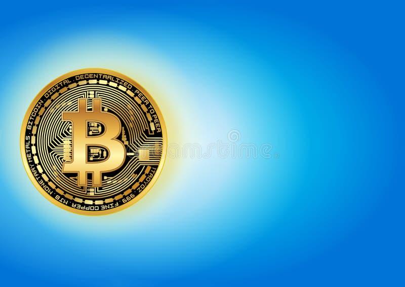 发光的金黄bitcoin 库存照片