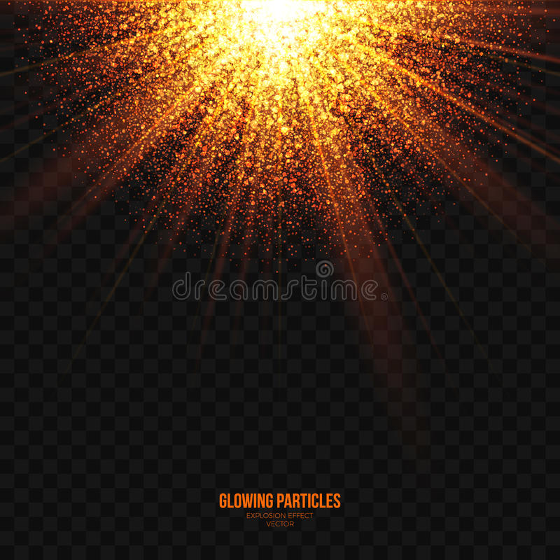 发光的金黄微粒爆炸作用设计元素 向量例证