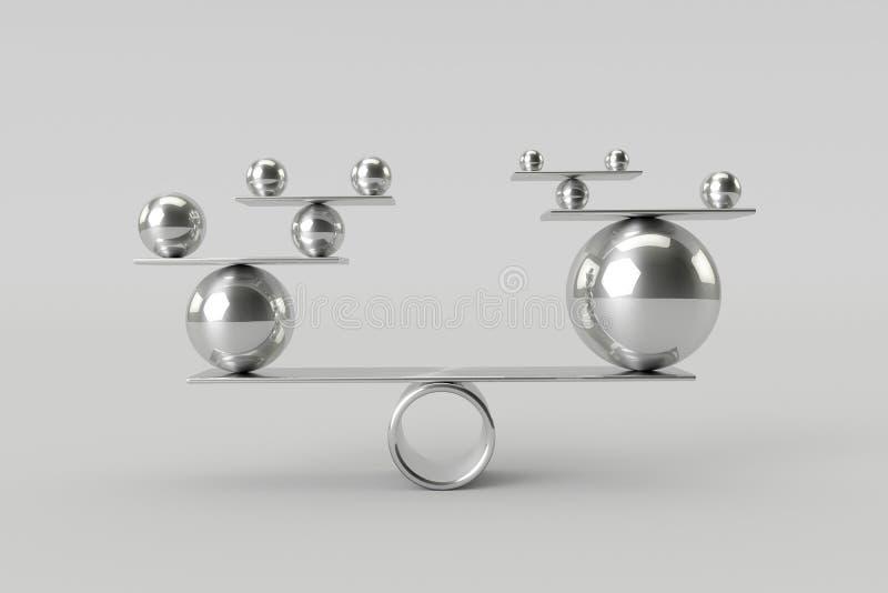 发光的镀铬物球完善的和谐  配合、风险和平衡概念 图库摄影