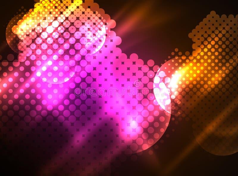 发光的霓虹发光的圈子,小点微粒结构 向量例证