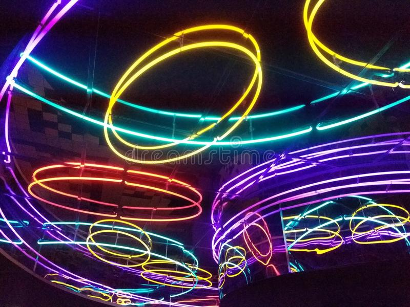 发光的霓虹灯抽象 库存照片