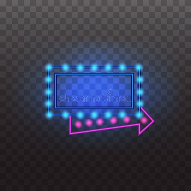 发光的霓虹灯标志在透明背景照亮了隔绝 库存例证
