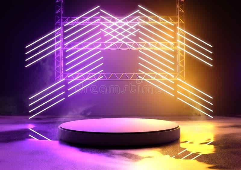 发光的霓虹舞台背景 皇族释放例证