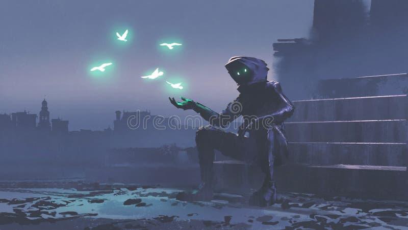 发光的鸟飞行在手外面 皇族释放例证