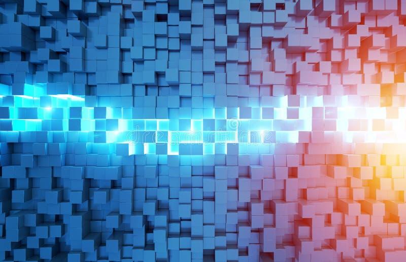 发光的黑蓝色和橙色正方形背景样式3D翻译 向量例证