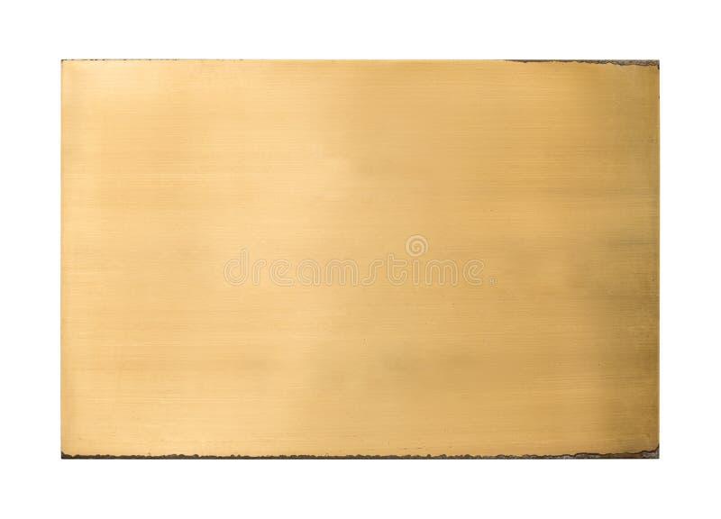 发光的黄铜空白的金属标志纹理 库存照片
