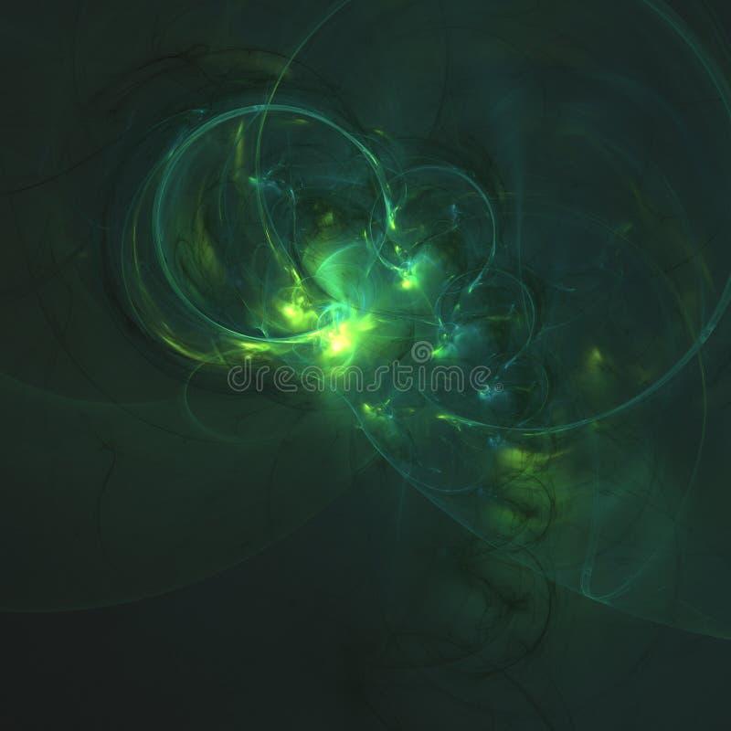 发光的ligh绿化在黑暗的抽象背景空间宇宙的弯曲的能量线 例证 免版税图库摄影