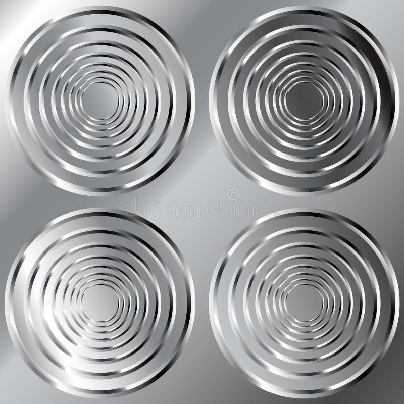 发光背景圈子大金属的模式 库存例证