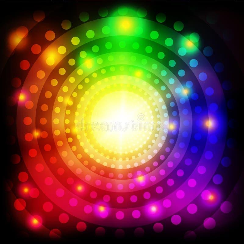 发光背景的抽象五颜六色的圈子 向量例证