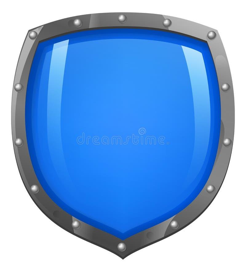 发光蓝色光滑的盾 库存例证
