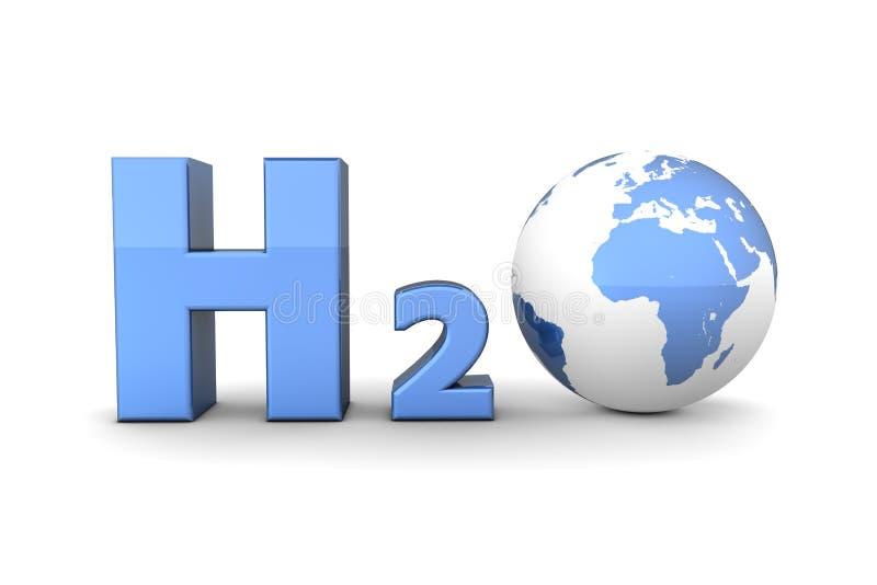发光蓝色全球h2o氢的氧化物 向量例证