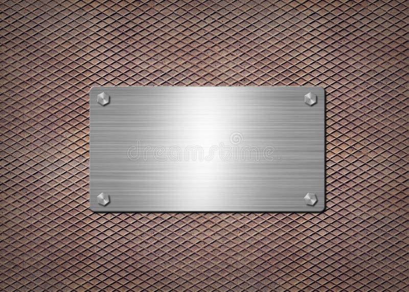 发光金属片在生锈的背景 库存例证