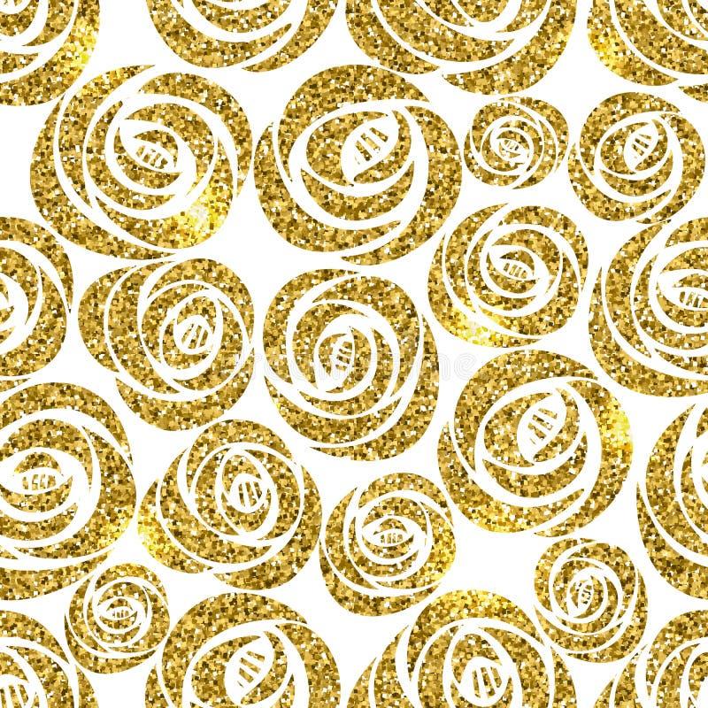 发光金黄闪烁玫瑰的传染媒介开花花卉无缝的样式 皇族释放例证
