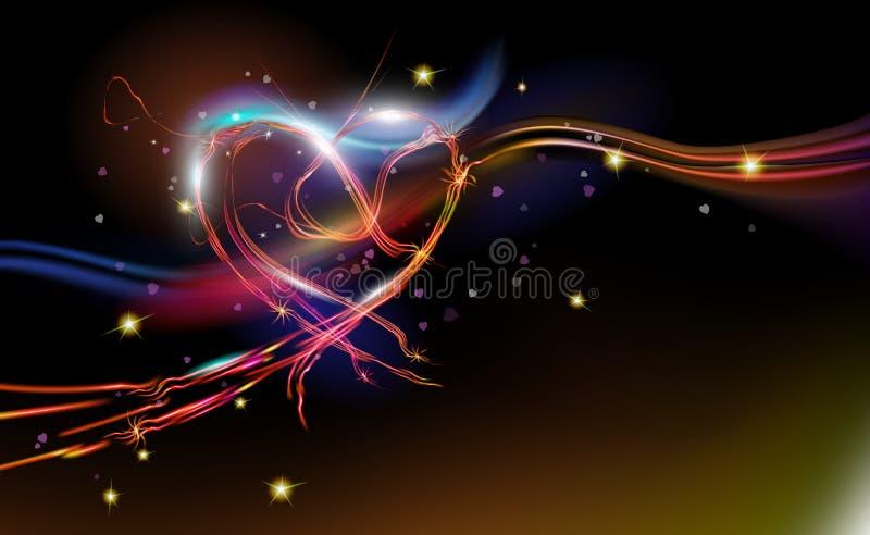 发光闪耀,光芒四射的幻想摘要背景红心 假日设计,夜艺术照明 空间情人节 库存例证