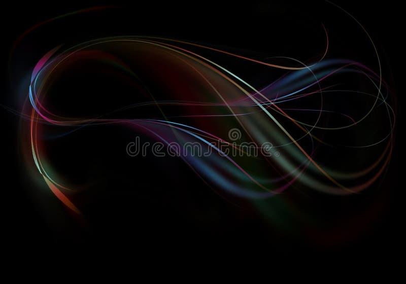发光,潮流弯曲了彩虹带小河与绿色和红色波浪的在黑背景 皇族释放例证