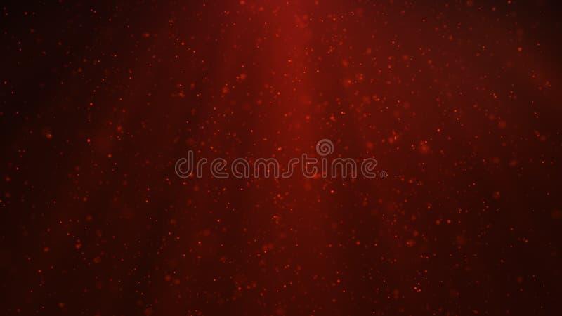 发光,闪耀的红色微粒抽象微粒背景  与亮光的美好的红色浮动微尘 向量例证