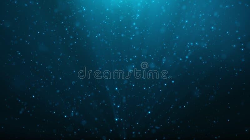发光,闪耀的蓝色微粒抽象微粒背景  与亮光的美好的蓝色浮动微尘 库存例证
