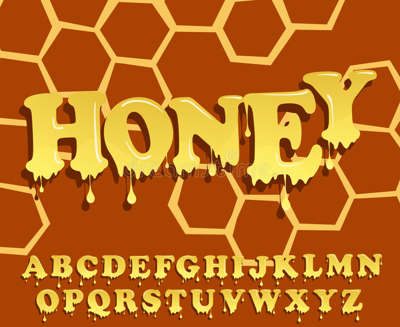 发光,给上釉,蜂蜜字母表设计 熔化的字体 传染媒介信头集合 向量例证