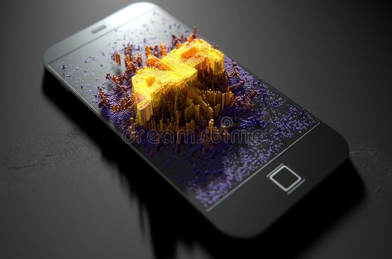 发出被增添的现实的巧妙的电话 向量例证