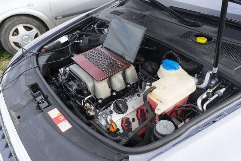 发动机计算机诊断概念 免版税库存图片