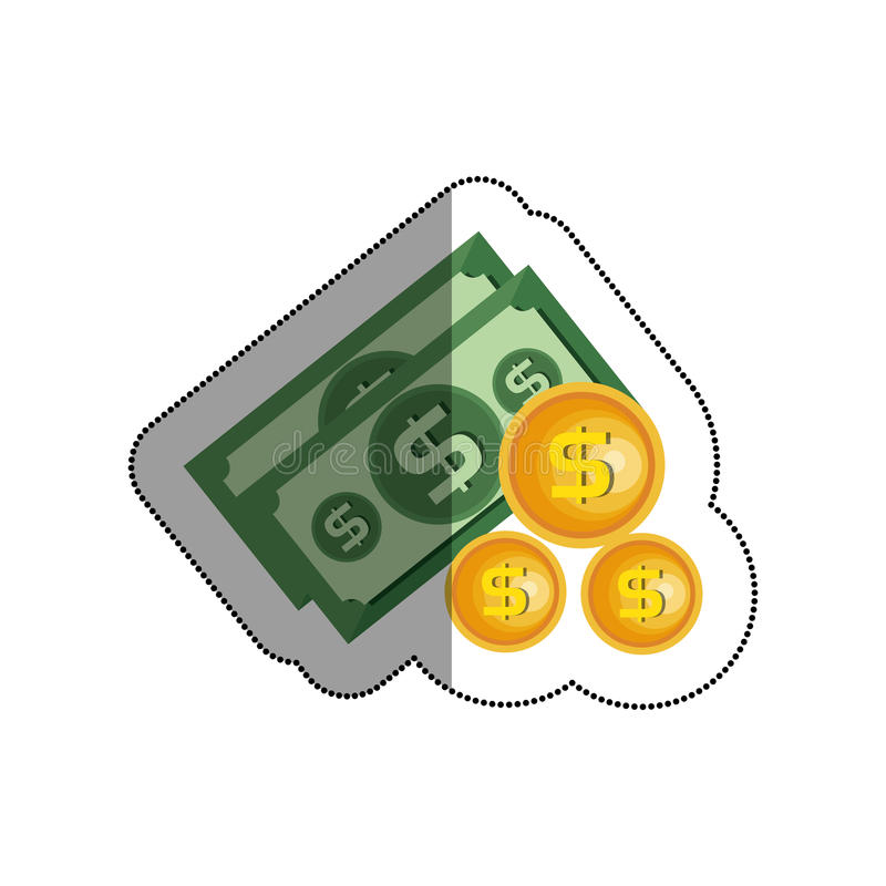 发单与硬币被隔绝的象的美元 向量例证