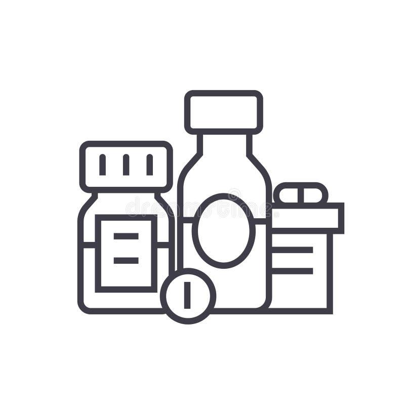 发咩声,生物活跃添加剂,药片,药剂平的线例证,概念传染媒介隔绝了在白色的象 向量例证