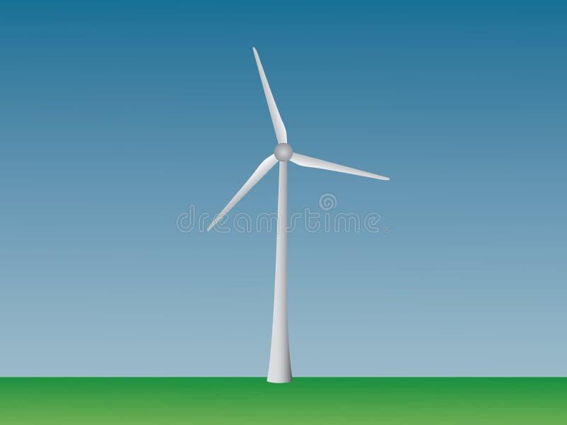 发在开放领域和天空的电的凉风涡轮传染媒介可再造能源产业的 库存例证