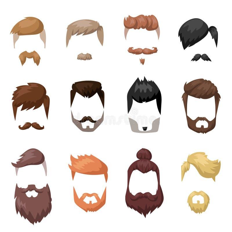 发型刮胡须,并且头发面孔削减了面具平的动画片收藏 皇族释放例证