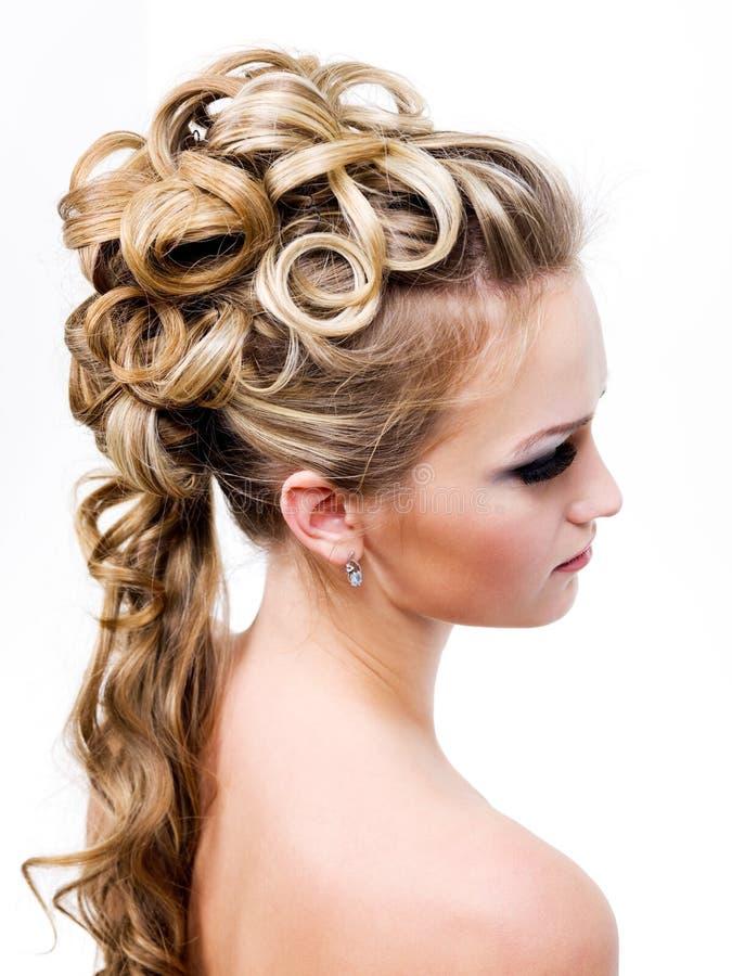 发型现代婚礼 免版税库存照片