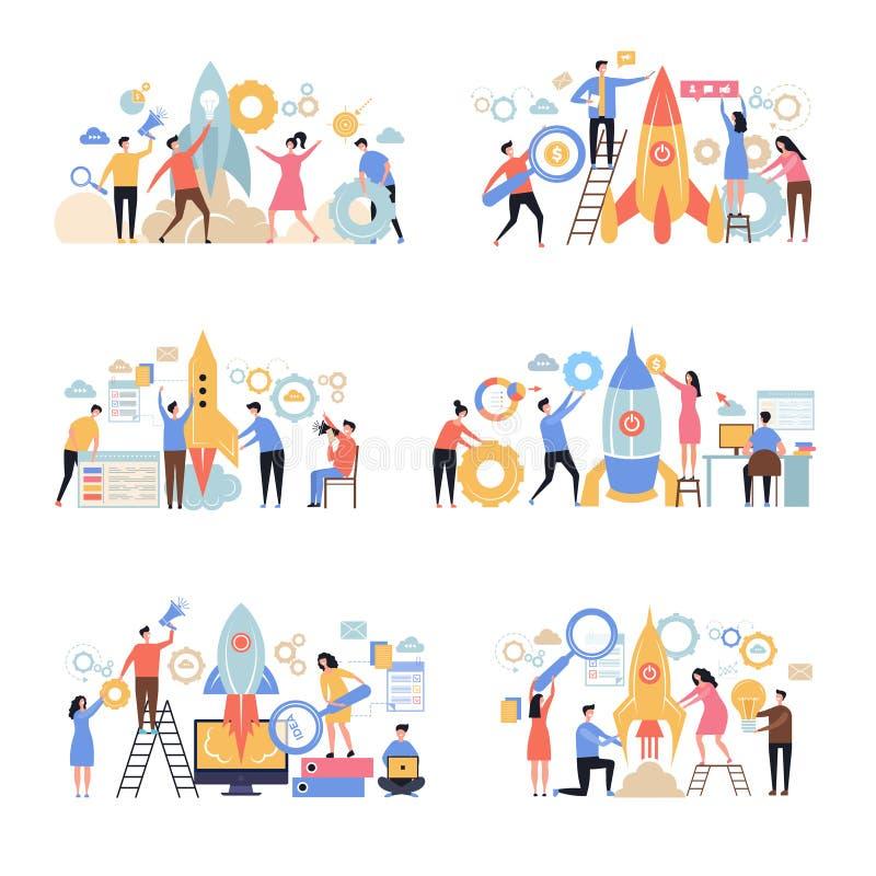 发射交易起步 火箭队成功的公司新的工作的想法企业隐喻办公室字符人经理 向量例证