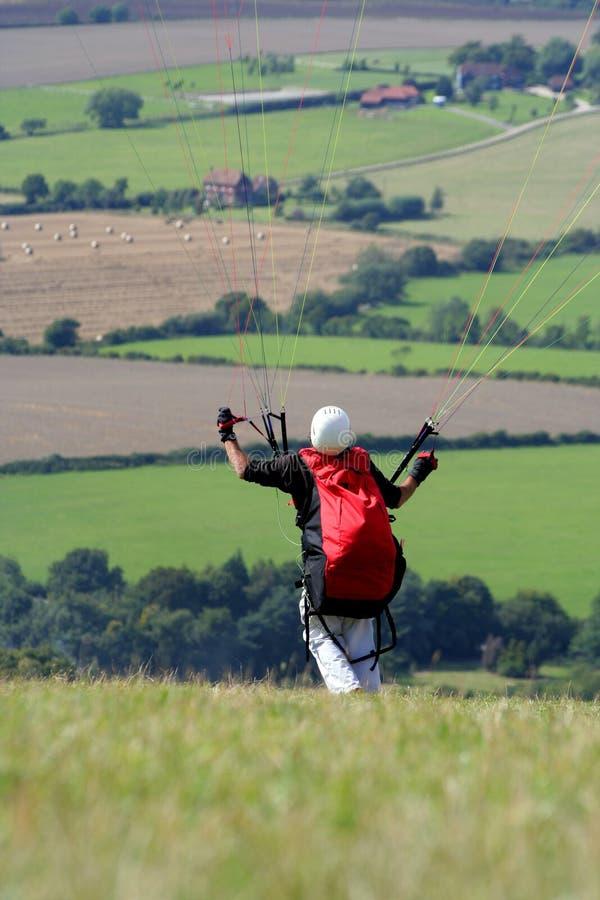 发射滑翔伞 库存照片