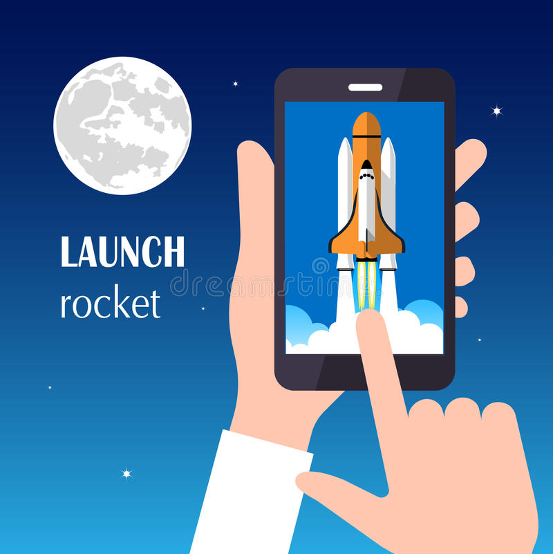 发射火箭 新的企业项目的概念和发行在市场上的一个新的创新产品 皇族释放例证