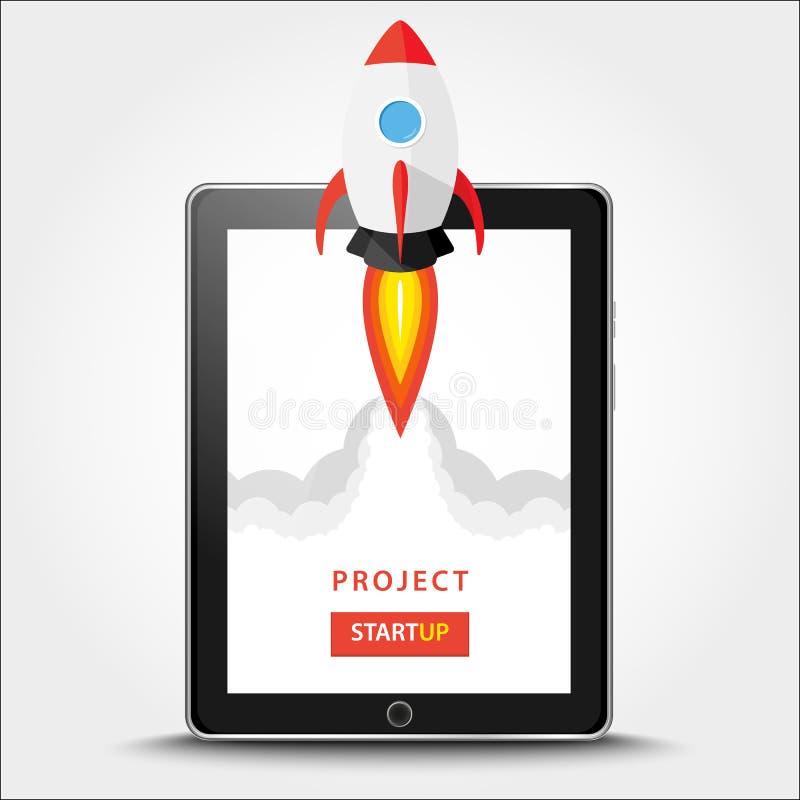 发射的app在片剂个人计算机桌面概念射出 在显示器外面的火箭队飞行 开始,在白色隔绝的企业想法 向量我 向量例证