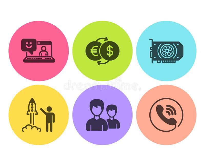 发射项目,微笑和兑换处象集合 Gpu、夫妇和电话中心标志 ?? 库存例证