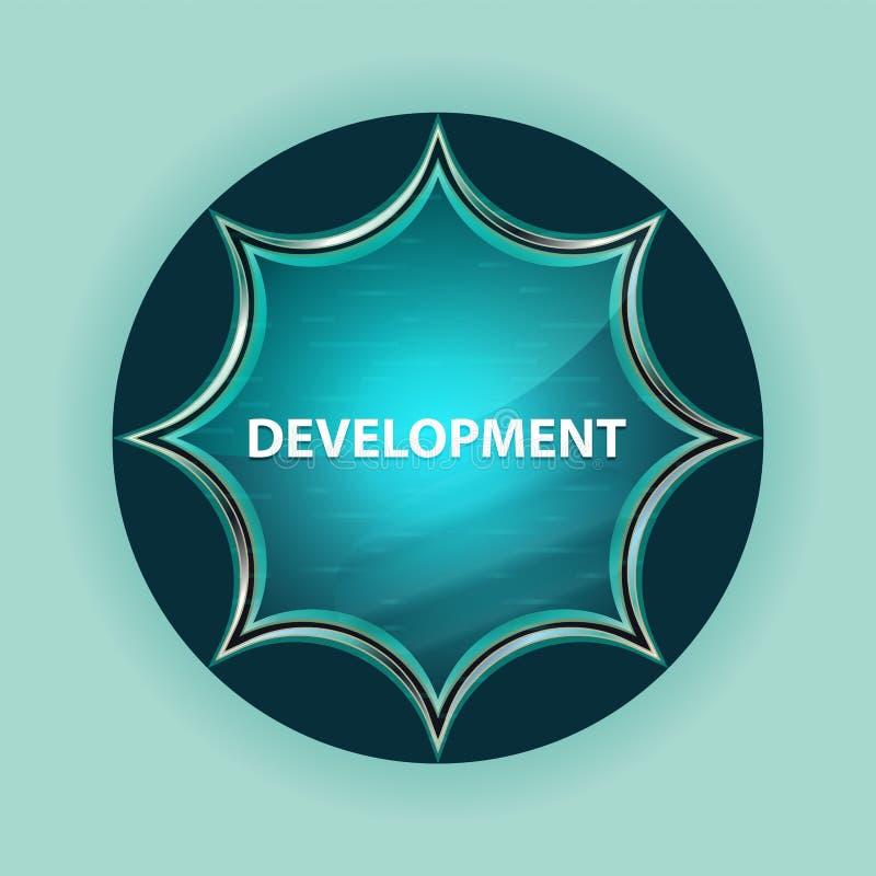 发展不可思议的玻璃状旭日形首饰蓝色按钮天蓝色背景 向量例证