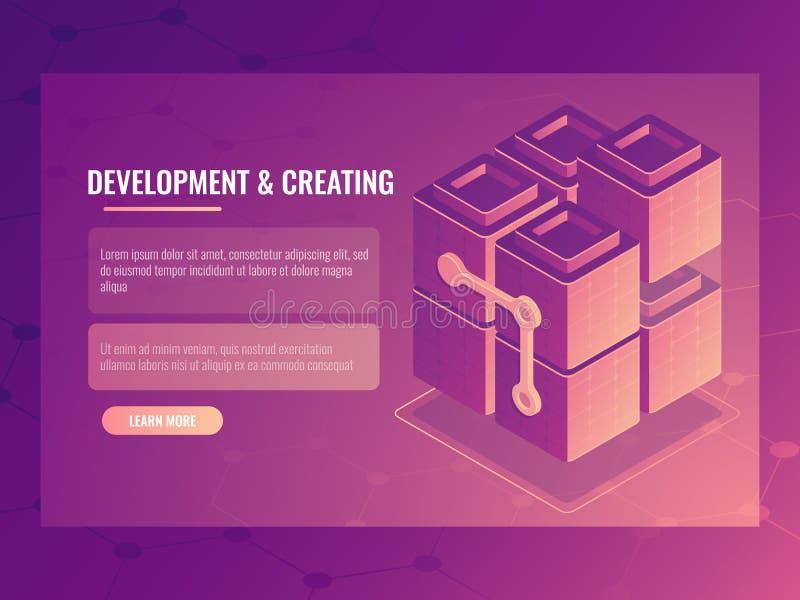 发展和创造的概念,块建设者,数字技术服务器室,数据中心数据库 皇族释放例证