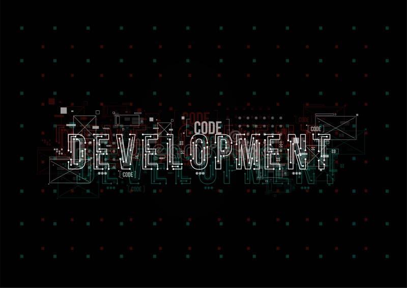 发展 与HUD元素的概念性布局印刷品和网的 与未来派用户界面元素的字法 库存例证