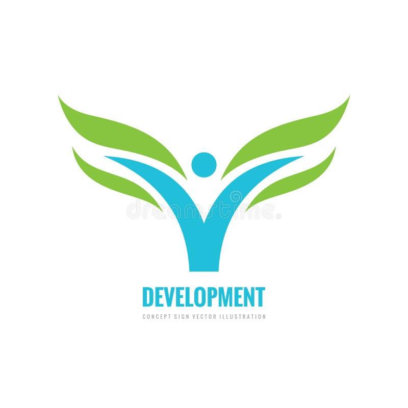 发展-企业商标设计 有绿色叶子象的抽象风格化人 健康概念标志 库存例证