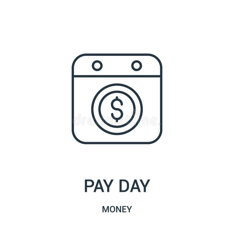 发工资日从金钱汇集的象传染媒介 稀薄的线发工资日概述象传染媒介例证 库存例证